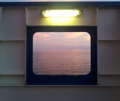 View from the ferry at sunrise…